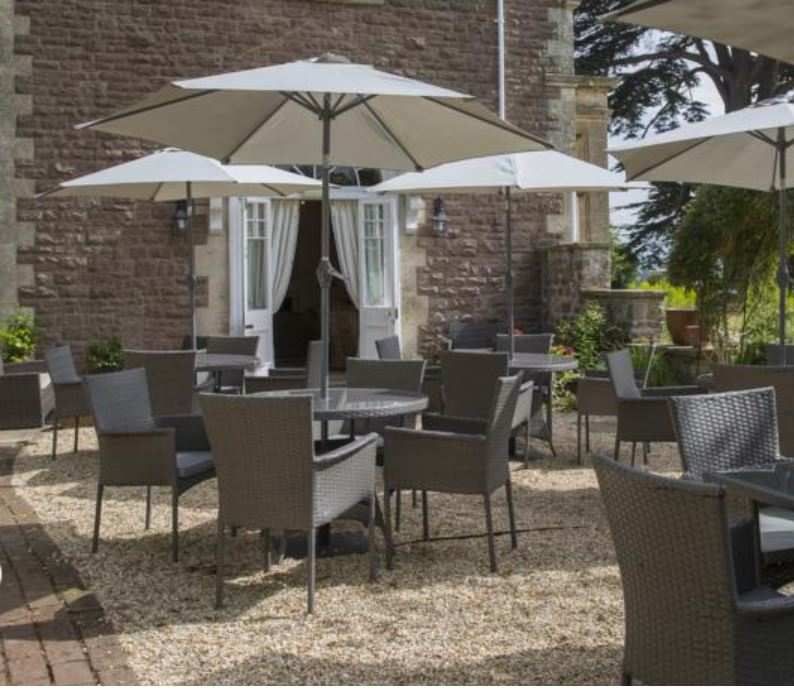 Patio at hotel near Ross on Wye